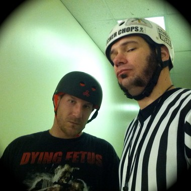 Charlie Miller (Sgt. Stryk'r) and Mike Neuberger (Butcher Chops) strike a pose before a derby practice with ACRD.