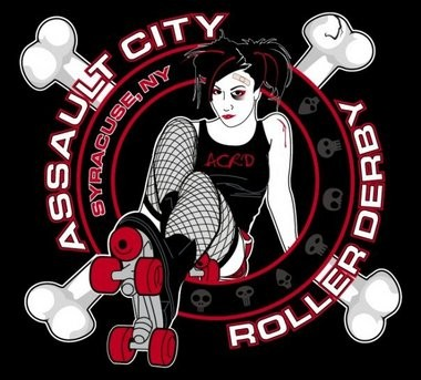 The original Assault City logo represents the now-dated look of derby athletes in years past: fishnet stockings and heavy makeup.