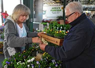 Cathy Mitchell of Cathy's Greenhouses in Red Creek sells pansies and a tomato plant to Bob Burlew of Fairhaven at the regional market Thursday.