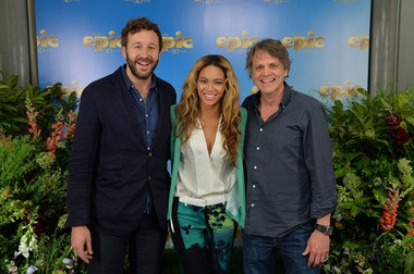 """Epic"" voice actors Chris O'Dowd, left, and Beyonce pose for a photo with the film's director, Fayetteville-Manlius graduate Chris Wedge."