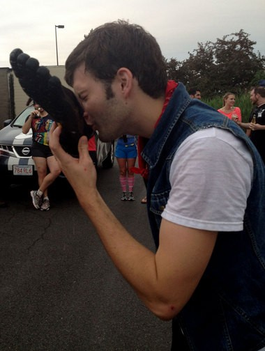 "One unlucky harrier was caught wearing new shoes to the July 1 hash run. He had to drink beer out of it as ""punishment."""