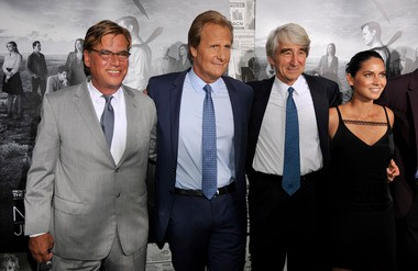 """Aaron Sorkin, far left, creator/executive producer of """"The Newsroom,"""" poses with cast members, left to right, Jeff Daniels, Sam Waterston and Olivia Munn at the season 2 premiere of the HBO series at the Paramount Theater on Wednesday, July 10, 2013 in Los Angeles."""