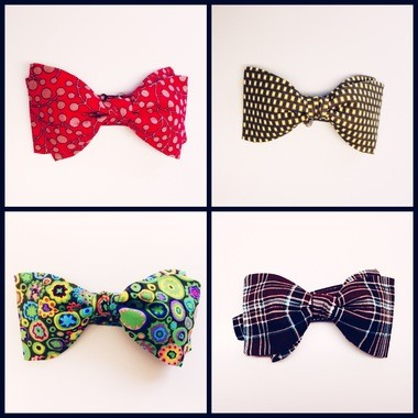 Four homemade bow ties by Geraldo De-Souza of Everyday Bow Ties. He makes only 20 or fewer bow ties from any one pattern.