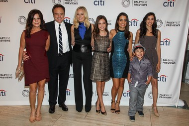 """From left, actors Marcia Gay Harden, Bradley Whitford, Malin Akerman, Bailee Madison, Natalie Morales, Albert Tsai, Michaela Watkins, and Ryan Scott Lee arrive at the PaleyFest Previews event for """"Trophy Wife"""" at The Paley Center for Media on Tuesday, Sept. 10, 2013 in Beverly Hills, Calif."""