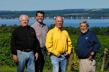 Partners in a new venture to sell Finger Lakes and New York wines in Europe are, from left, John Martini of Anthony Road Wine Co., Chris Missick of Villa Bellangelo, Scott Osborn of Fox Run Vineyards, and their European partner, Christian Claessens of Luxembourg.