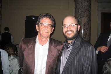 Lou Reed (left) poses with SU professor David Yaffe in 2007.