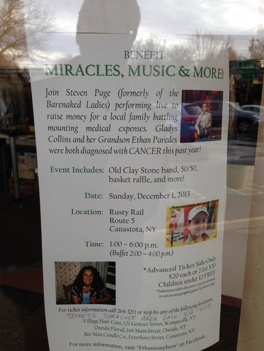 Flyers for the benefit are posted around Central New York.