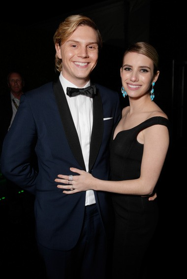 """""""Adult World"""" co-stars Evan Peters, left, and Emma Roberts attend the FOX after party for the 71st Annual Golden Globes award show on Sunday, Jan. 12, 2014 in Beverly Hills, Calif."""