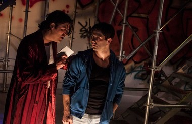 Nathan Faudree (left) and Michael Raver star in Hamlet, directed by Stephen Svoboda.