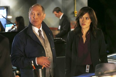 "This photo released by NBC shows James Spader, left, as Raymond ""Red"" Reddington, and Megan Boone as Elizabeth Keen on NBC's ""The Blacklist."""