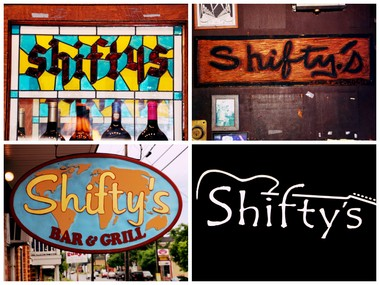 The many signs of Shifty's Bar & Grill came from logo re-brandings by several different owners.