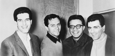 From left to right, Bob Guadio, Tommy DeVito, Charlie Calello and Frankie Valli of The Four Seasons pose for a photo in 1966.