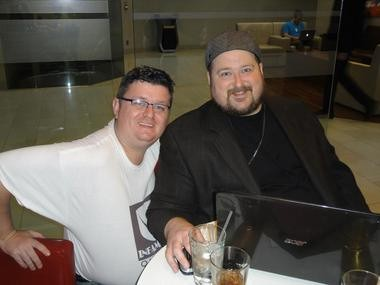 From left, Shawn Mills and Steven Alexander. The duo are Quest for Infamy's co-founders.