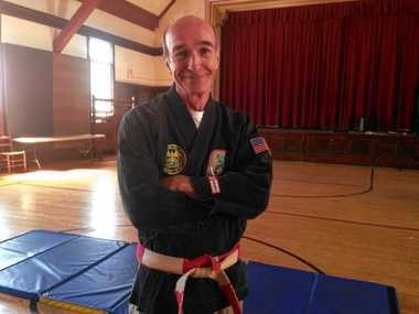 Actor Tom Flagg not only performs on stage, he's a karate expert as well.