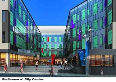 This is an architectural rendering of the City Center an outdoor courtyard to be created off of West Jefferson Street. It will be the entryway to the new home of the Redhouse Arts Center. The arts center will change its name to the Redhouse @ City Center.