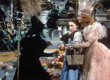 The Wicked Witch of the West, left, played by Margaret Hamilton, confronts Dorothy, played by Judy Garland, and Glinda, the Witch of the North, played by Billie Burke, right, in this scene from 'The Wizard of Oz.'