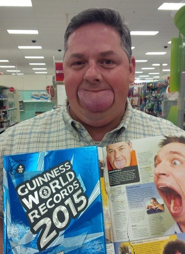 Byron Schlenker holds the 2015 edition of the Guinness Book of World Record. Schlenker's tongue measures 8.3 cm at its widest point.