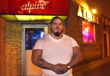 Wyatt Lozano, bouncer at Alpine Gentleman's Club. Friday, Dec. 5, 2014.