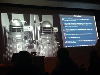 Watching the first appearance of the Daleks in class, with a running feed of viewer comments from the students on Twitter.