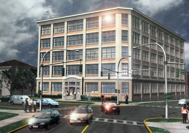 This is an artist's rendering of the Gear Factory building as envisioned by Rick Destito.