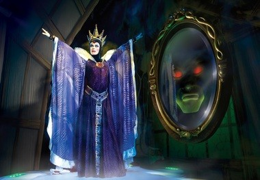 "The Evil Queen from ""Snow White and the Seven Dwarfs"" learns from the Magic Mirror she is not the fairest of them all in the stage show, ""Disney Live! presents Three Classic Fairy Tales."""