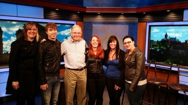 """The Undersigned"" showrunner Cory Carlick, second from left, shared this photo from the set of NewsChannel 9's ""Bridge Street Live."""