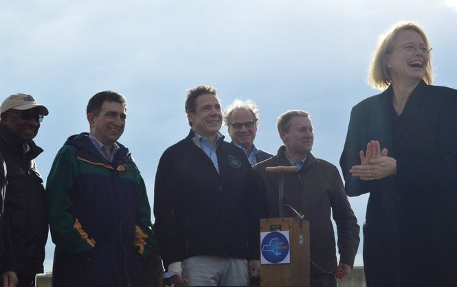 Gov. Andrew Cuomo and Onondaga County Executive Joanie Mahoney pushed the ceremonial plunger together, for the NYS Fair grandstand implosion. Photo by Samantha House.