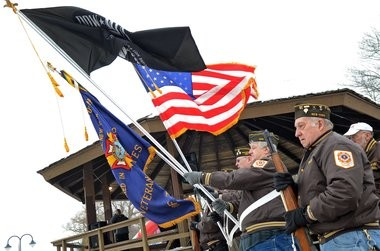 The Baldwinsville VFW Post 153 provided the color guard as the national anthem was sung. during the 2014 B'Ville Big Chill.