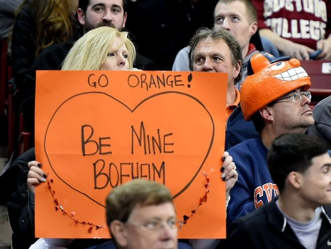 The Syracuse University basketball team traveled to Boston to play Boston College in a 2016 Valentine's Day game. The Orange won 75-61 as thousands of fans showed their orange. (Stephen D. Cannerelli   scannerelli@syracuse.com)