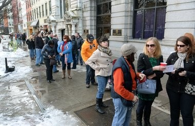 People line up for tickets to the Winterfest Sandwich Stroll and Margarita Mix-Off in Hanover Square on Sat. Feb. 20, 2016.
