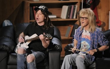 """Mike Myers, left, and Dana Carvey, of """"Wayne's World"""" are seen on stage at the MTV Movie Awards on Sunday June 1, 2008 in Los Angeles."""