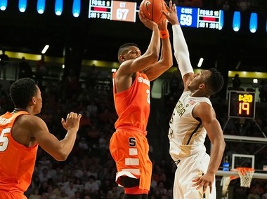 Syracuse's Andrew White puts up a shot late in the game against Georgia Tech on Sunday, Feb. 19, 2017, at McCamish Pavilion in Atlanta.