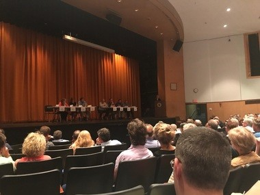 A panel discusses the recent algae bloom at Skaneateles Lake on October 5 at Skaneateles High School.