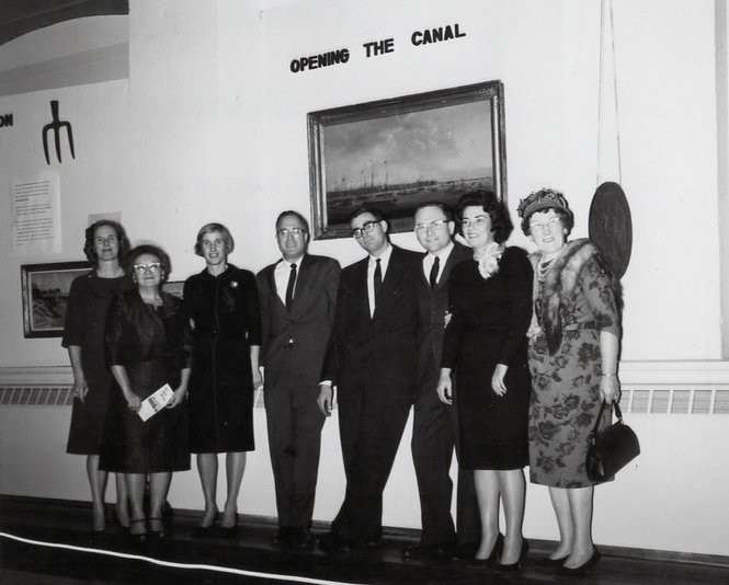 The Erie Canal Museum's board of trustees poses on the museum's opening night, on Oct. 25, 1962. From left to right: Peggy Feldmeier, Marie Cady, Janet Besse, Robert Clark, Frank Thomson, Don Mawhinney, Ann Bruns, Anna Ryan. (Erie Canal Museum)