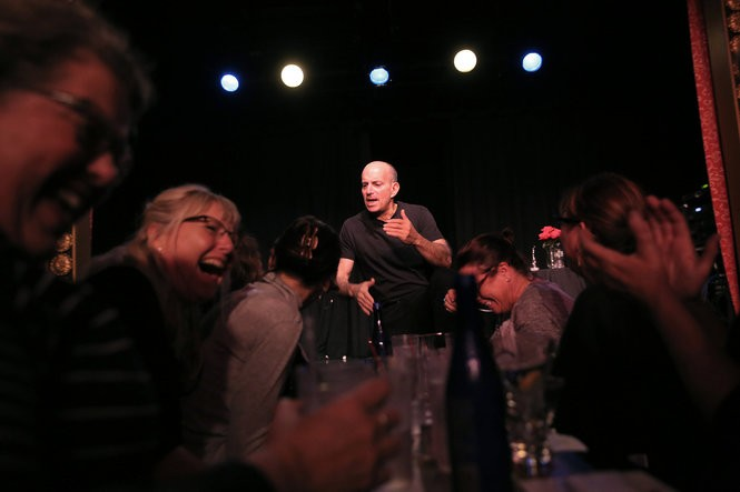 "Comedian Brad Zimmerman performs his one-man show, ""My Son, the Waiter"" at the ""The Triad Theater"" in Manhattan."