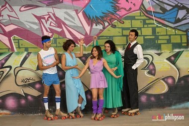 "The cast of ""Xanadu"" at Hangar Theatre in Ithaca."