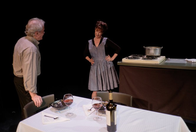 Dave Tobin (Jerry) and Maria DeMitchell (Emma) in Betrayal.
