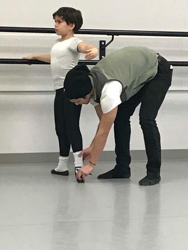 SCB Resident Dancer Jose Perez Pino works with Tyler Wladis.