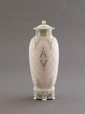 "Adelaide Alsop Robineau, ""Scarab Vase (The Apotheosis of the Toiler),"" porcelain, 1910."