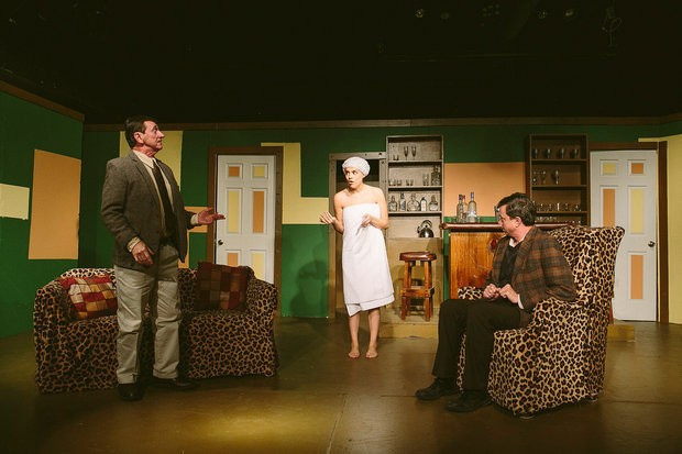 "A scene from ""Move Over Mrs. Markham"" at The Central New York Playhouse. Actors, from left, are Jack Sherman, Kate Crawford and David Vickers."