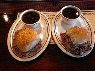 Roast Beef on DiLauro's kimmelweck bread and beef barley soup at the new Clark's Ale House in Syracuse.