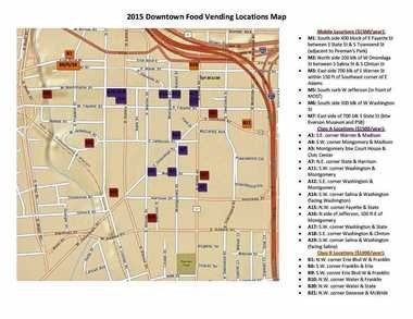 2015 available mobile food vendor locations in Syracuse (downtown)