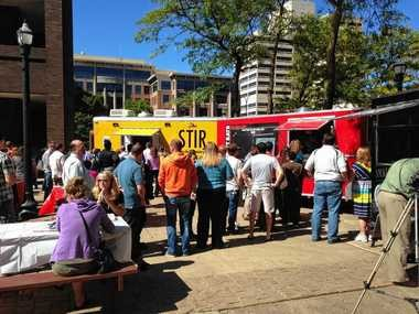 Food truck rodeos feature more than one truck gathered in one place. This one was downtown two years ago -- many will be held this year at 1153 W. Fayette St. (the Cosmopolitan Building).