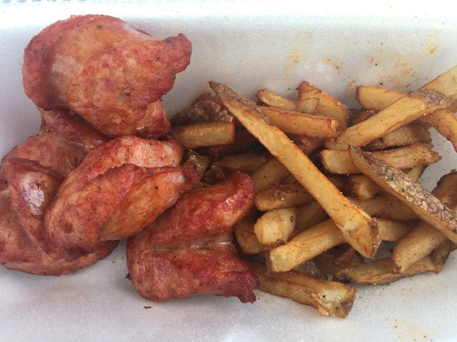 Alligator sausage from Creole Soul Cafe at the New York State Fair.