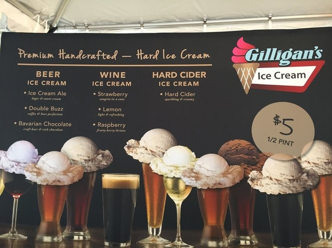 A sign showing the wine, beer, and hard cider flavors of Gilligan's Ice Cream in the Wine Court of the New York State Fair. Gilligan's is from Sherburne, N.Y.