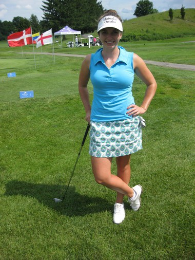 Madeleine Sheils, of Idaho, likes to wear fun patterns when she golfs. Sheils will be competing this weekend at the Credit Union Classic at Drumlins Country Club.