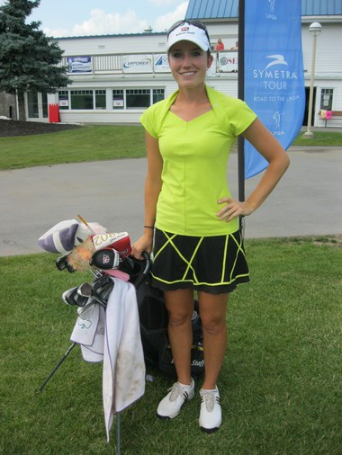 Carly Werwie, of Wisconsin, said fit and comfort are important when she shops for golf apparel. Werwie is competing in the Credit Union Classic at Drumlins Country Club.