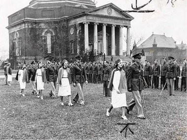 SU ROTC students march on the campus in the 1940s.