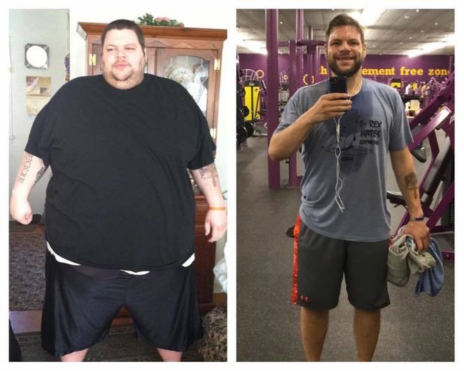 Ronnie Brower before and after his weight loss.