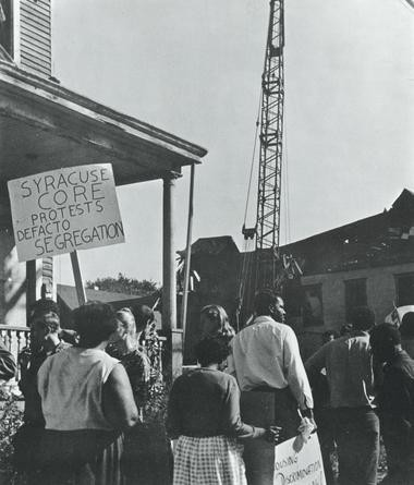Residents protest the demolition of the old 15th ward in Syracuse, 1963.